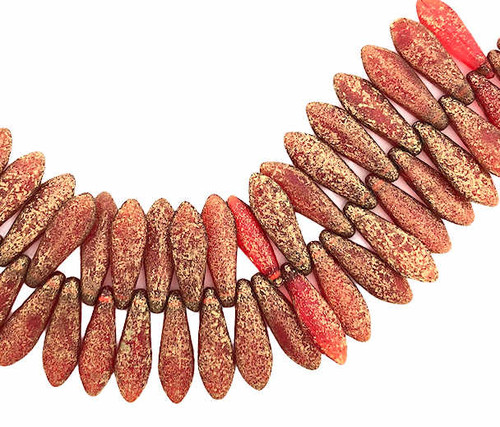 1-Hole Czech Glass Dagger Beads, Scarlet Red w/ Etched Finish & Gold Wash (5 x 16mm) (Qty: 25)