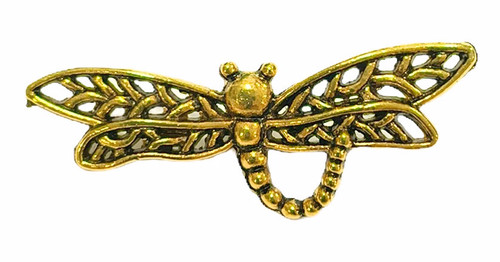 Dragonfly Button, Gold Plated, 34x12mm (Qty: 1)