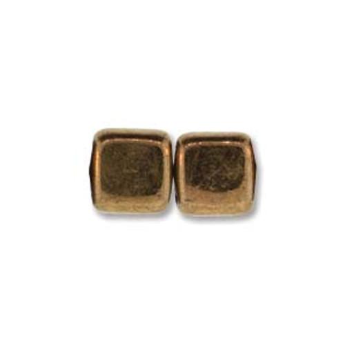 2-Hole Tile Beads, Bronze (Qty: 25)