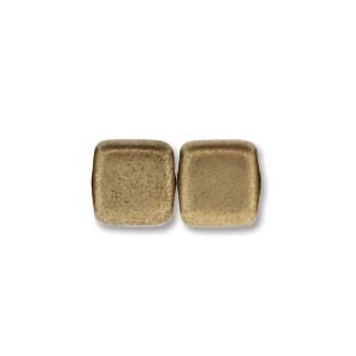 2-Hole Tile Beads, Matte Metallic Flax (Qty: 25)