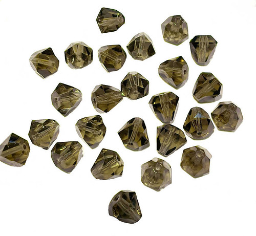Faceted Czech Crystal Drops, Smoke Grey, 8x9mm (Qty: 25)