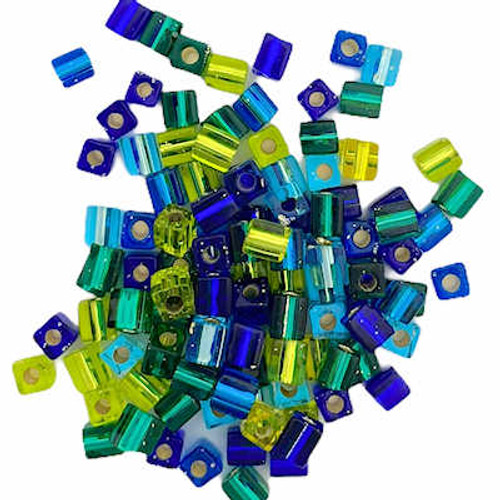 4mm Cube Beads, Seven Seas Multi-Mix Silver-Lined (10 gr.)