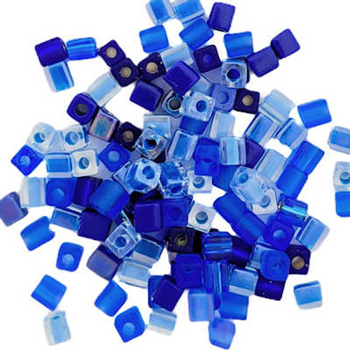 4mm Cube Beads, The Blues Mix (10 gr.)