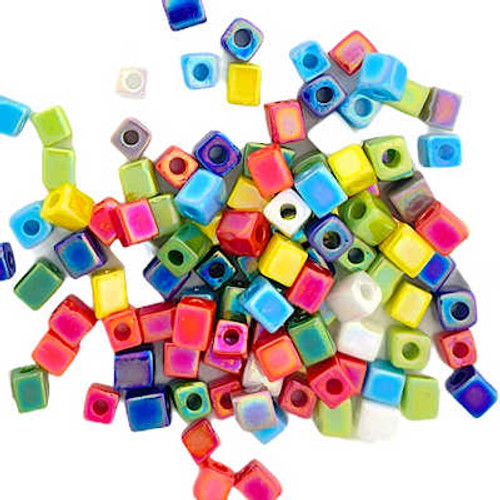 4mm Cube Beads, Multi Mix Opaque AB (10 gr.)