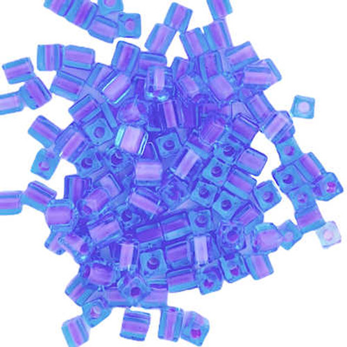 4mm Cube Beads, Orchid-Lined Blue (10 gr.)