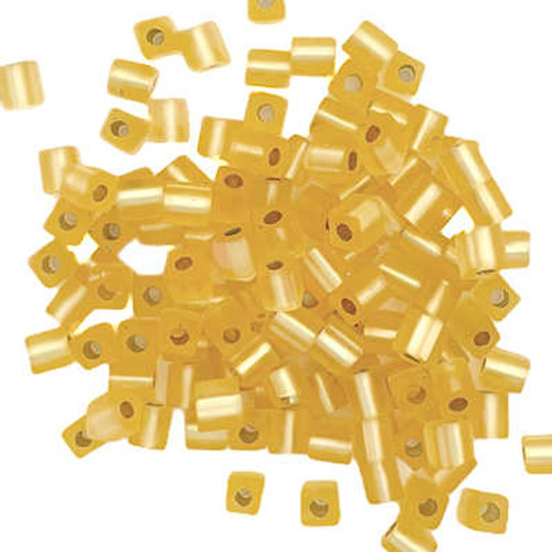 4mm Cube Beads, Matte Silver-Lined Gold (10 gr.)