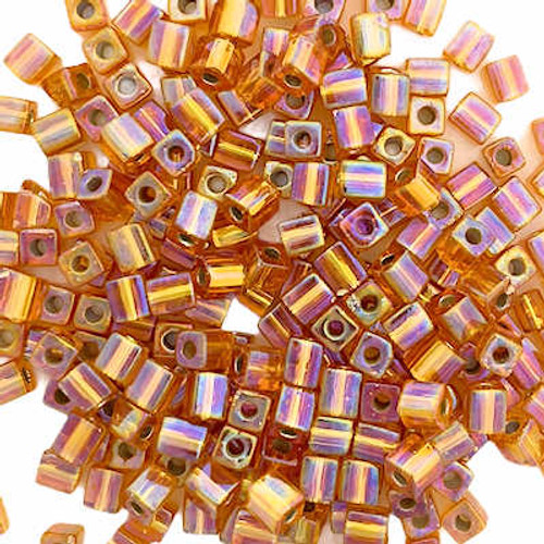 4mm Cube Beads, Silver-Lined Topaz AB (10 gr.)
