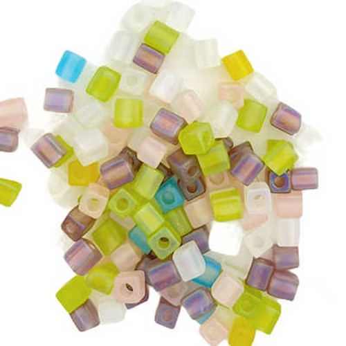 4mm Cube Beads, Spring Fever AB Mix (10 gr.)