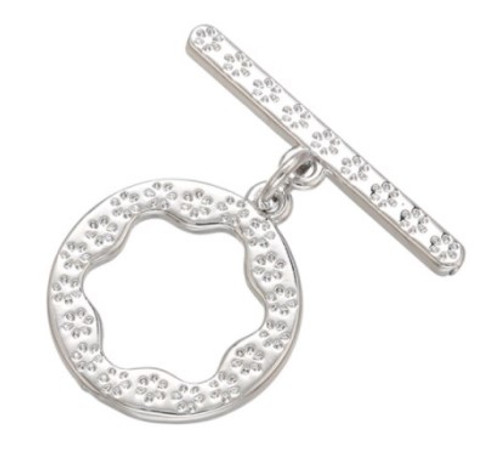 Bali-Style Toggle Clasp, Silver-Plated, 16x20mm (Qty: 1)