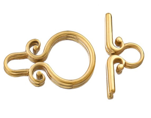 Spirals Toggle Clasp, Gold-Plated, 22.5x14mm (Qty: 1)