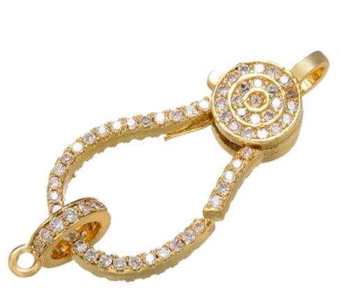Fancy Crystal Lobster Clasp, Gold-Plated, 27.5x13.5mm (Qty: 1)