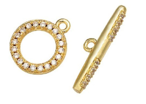 Crystal Toggle Clasp, Gold-Plated, 12x14mm (Qty: 1)