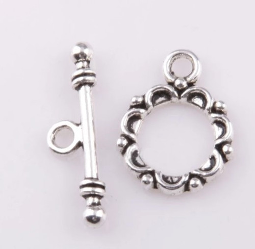 Lacework Toggle Clasp, Silver-Plated, 20x14mm (Qty: 2 pair)