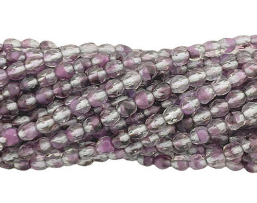 4mm Fire Polish, Crystal/Purple Silver-Lined(Qty: 50)