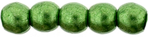 2mm Round Glass Beads, Saturated Metallic Kale (Qty: 50)