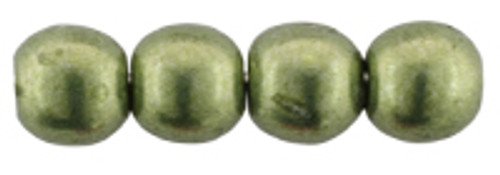 2mm Round Glass Beads, Sueded Gold Fern (Qty: 50)