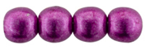 2mm Round Glass Beads, Sueded Gold Fuchsia Red (Qty: 50)
