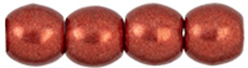3mm Round Glass Beads, Saturated Metallic Cherry Tomato (Qty: 50)