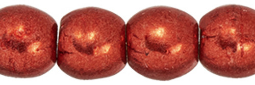 3mm Round Glass Beads, Saturated Metallic Cranberry (Qty: 50)