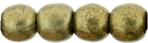 3mm Round Glass Beads, Saturated Metallic Golden Lime (Qty: 50)