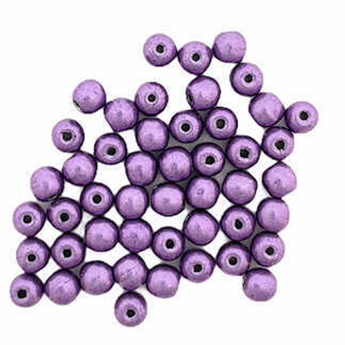 3mm Round Glass Beads, Saturated Metallic Grapeade (Qty: 50)