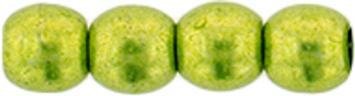 3mm Round Glass Beads, Saturated Metallic Lime Punch (Qty: 50)