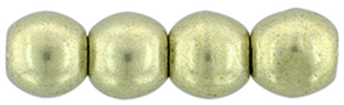 3mm Round Glass Beads, Saturated Metallic Limelight (Qty: 50)