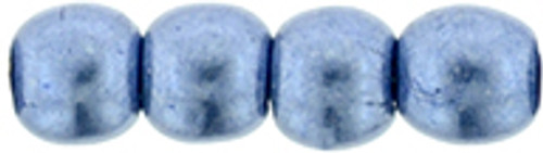 3mm Round Glass Beads, Saturated Metallic Blue Gray (Qty: 50)