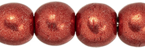 4mm Round Glass Beads, Saturated Metallic Cranberry (Qty: 50)