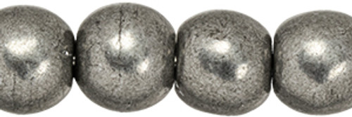 4mm Round Glass Beads, Saturated Metallic Frost Gray (Qty: 50)