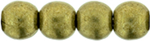 4mm Round Glass Beads, Saturated Metallic Golden Lime (Qty: 50)
