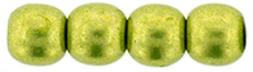 4mm Round Glass Beads, Saturated Metallic Lime Punch (Qty: 50)