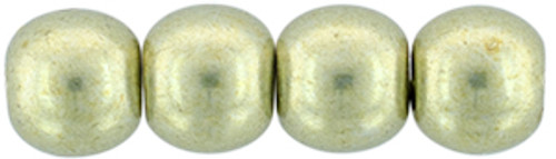 4mm Round Glass Beads, Saturated Metallic Limelight (Qty: 50)