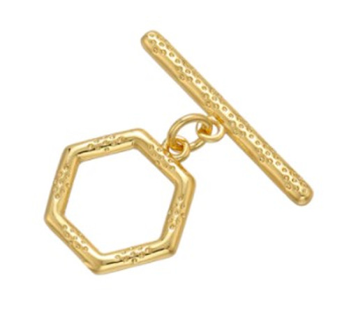Bali-Style Hexagon Toggle Clasp, Gold-Plated, 13x13mm (Qty: 1)
