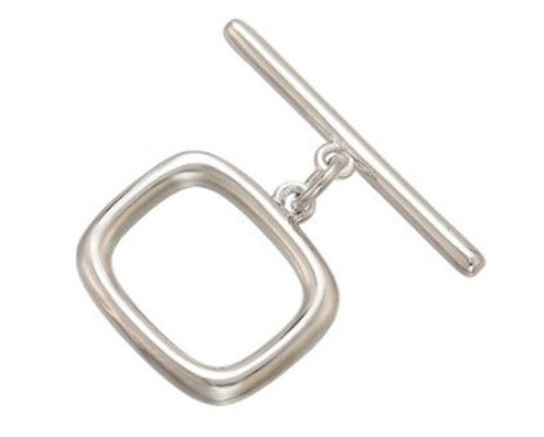Retro Rectangle Toggle Clasp, Silver-Plated, 13x14mm (Qty: 1)