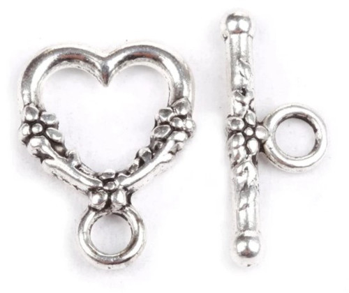 Floral Heart Toggle Clasp, Silver-Plated, 18x14mm (Qty: 2)