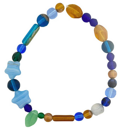 """Czech Glass Bead Mix, Forest Blue (8"""" strand) (Beads vary from strand to strand)"""