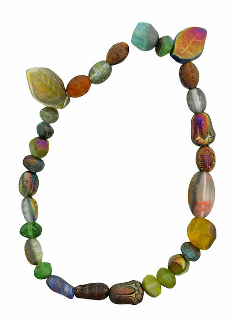 """Czech Glass Bead Mix, Forest w/Vintage Iris Half Coat (8"""" strand) (Beads vary from strand to strand)"""