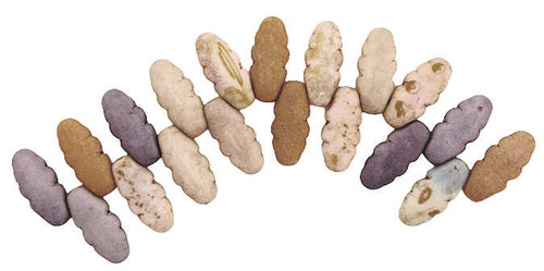 Serrated Dagger Beads, Matte Five Color Luster Travertine (Qty: 20) (colors very per strand)