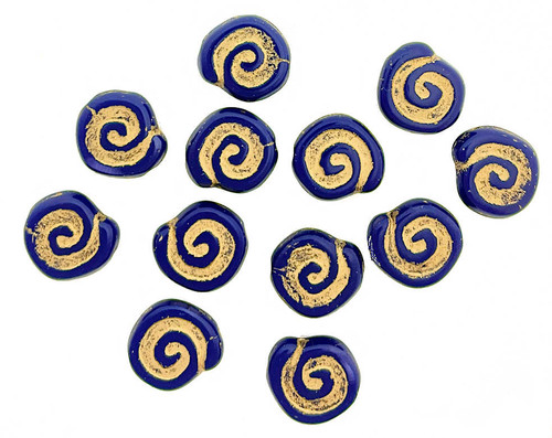 Spiral Coin Beads, 12mm, Navy with Gold Wash (Qty: 16)
