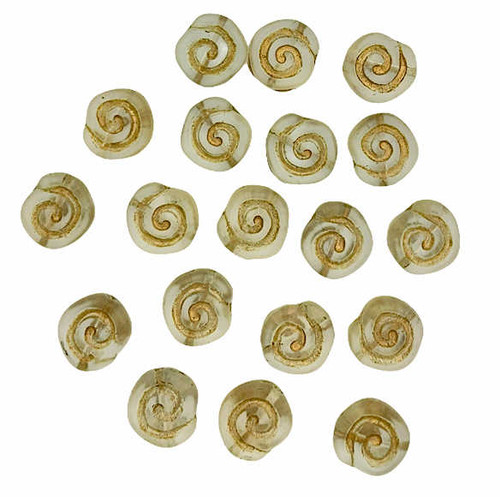 Spiral Coin Beads, 10mm, Matte Crystal w/Gold Wash (Qty: 19)