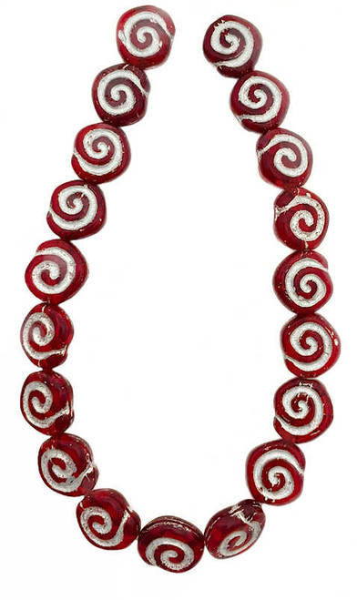 Spiral Coin Beads, 10mm, Siam Red w/Silver Wash (Qty: 19)