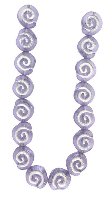 Spiral Coin Beads, 12mm, Violet w/Silver Wash (Qty: 16)