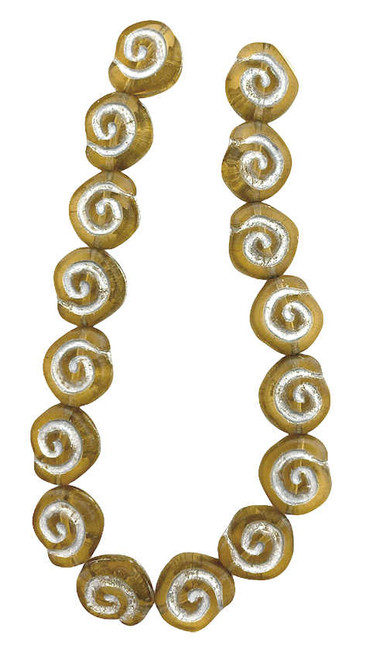 Spiral Coin Beads, 12mm, Root Beer w/Silver Wash (Qty: 16)
