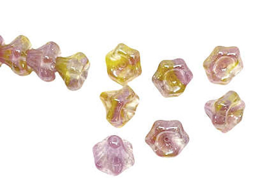 Bell Flower Beads, 9x12mm, Pink/Yellow/White (Qty: 28)
