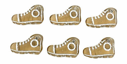 15mm High Top Shoe Beads, Black Diamond with Silver Wash (Qty: 6)