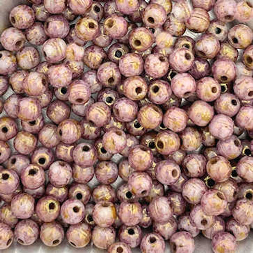 4mm Round Glass Beads, Marbled Pink (Qty: 50)