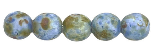 4mm Round Glass Beads, Blue Picasso (Qty: 50)