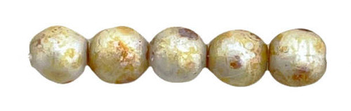 4mm Round Glass Beads, Alabaster Honey Picasso (Qty: 50)