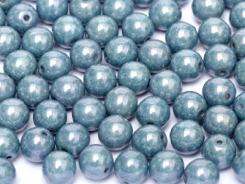 4mm Round Glass Beads, Baby Blue Luster  (Qty: 50)